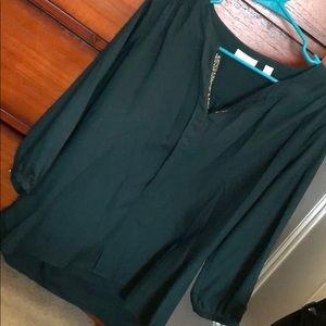 Hunter Green Blouse with Silver Beading